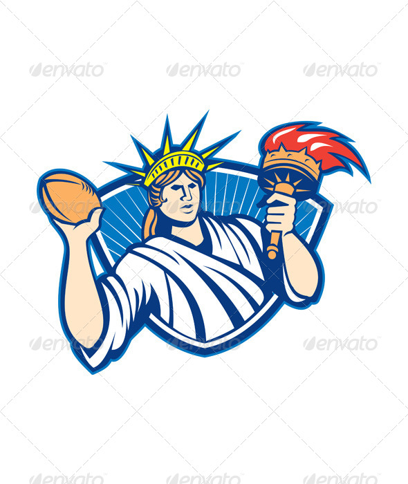 GraphicRiver Statue of Liberty Throwing Football Ball 5178214