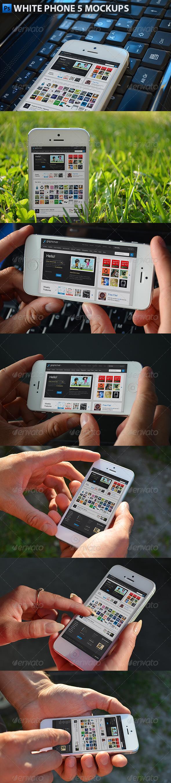 White Phone 5 Mockups