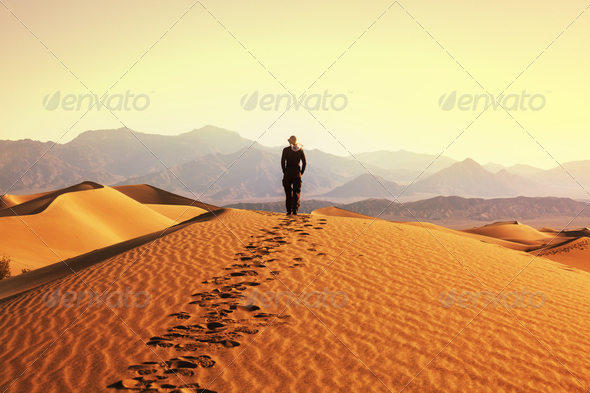 Hike in desert - Stock Photo - Images