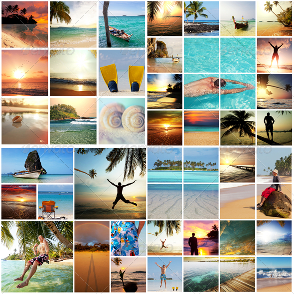 Beach collage - Stock Photo - Images