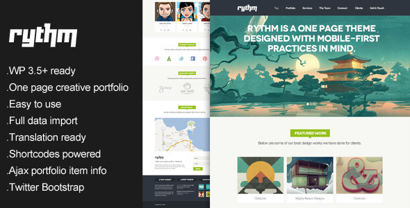 Rythm - One Page Responsive WordPress Theme - Portfolio Creative