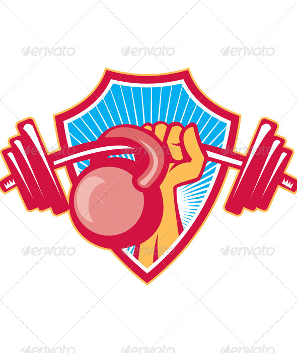 GraphicRiver Hand Lifting Barbell Kettlebell Crest 5178898
