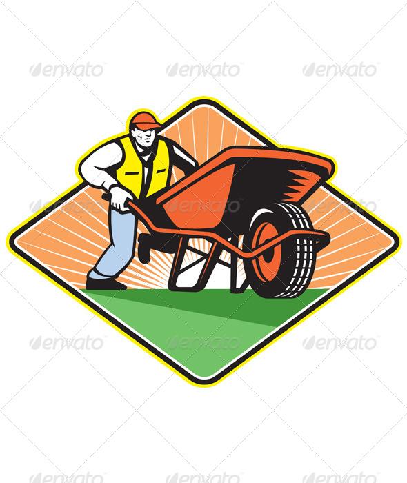 GraphicRiver Gardener Pushing Wheelbarrow Retro 5178901