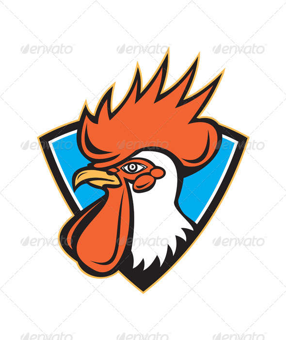 GraphicRiver Rooster Cockerel Head Crest 5178917