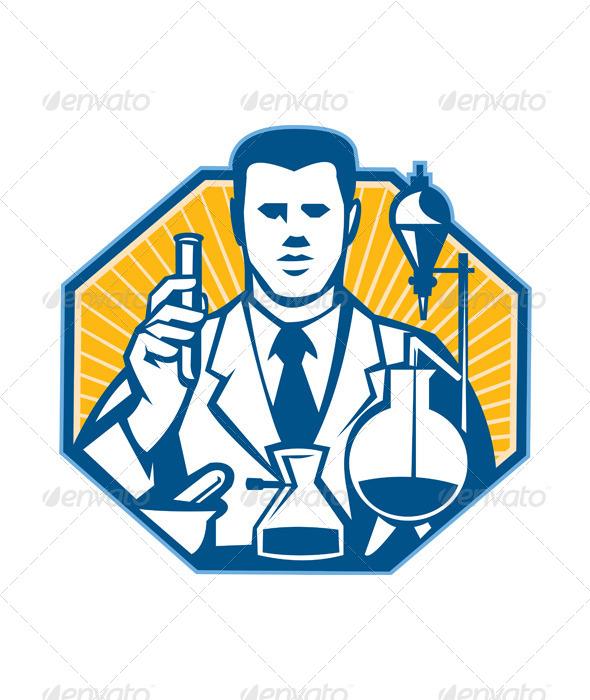 GraphicRiver Scientist Lab Researcher Chemist Retro 5178918