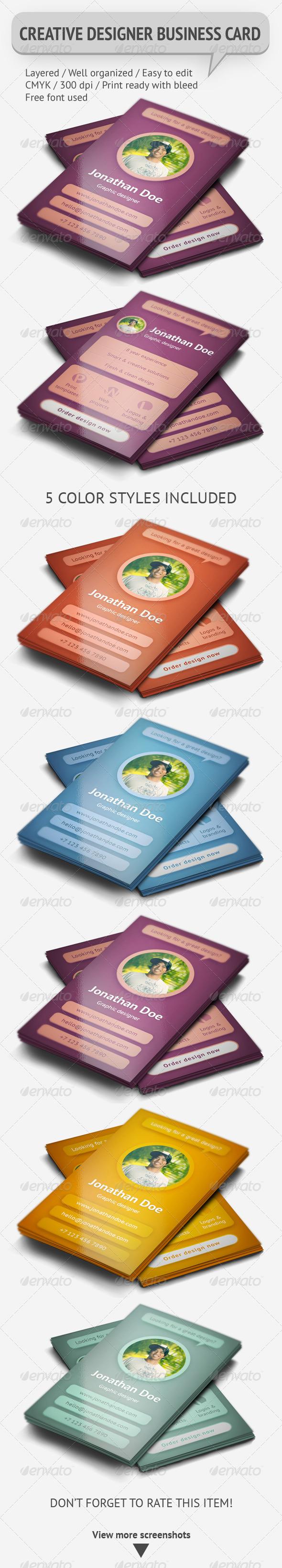 GraphicRiver Creative Graphic Designer Business Card 5179437