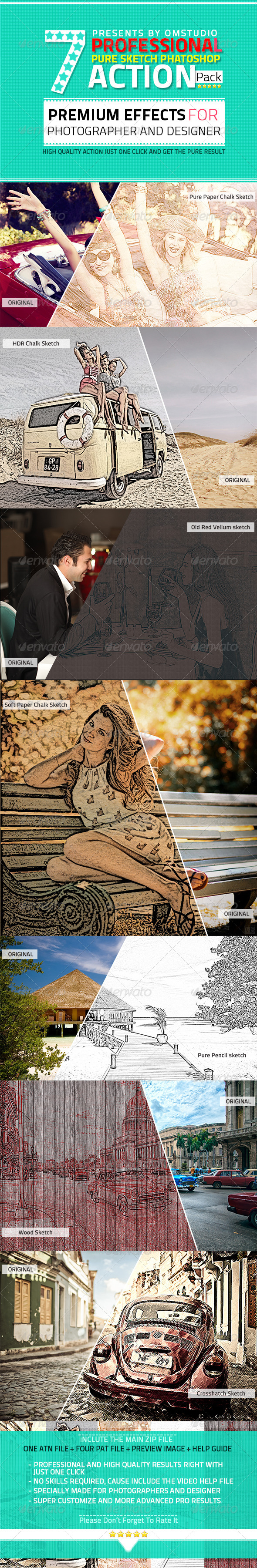GraphicRiver 7 Professional Pure Sketch Photoshop Action Pack 5180142