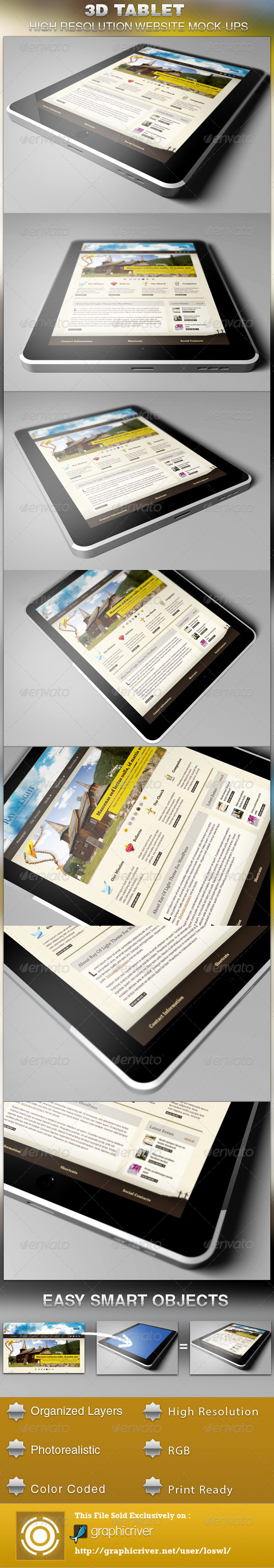 3D Tablet Website Mockup Template - Website Displays