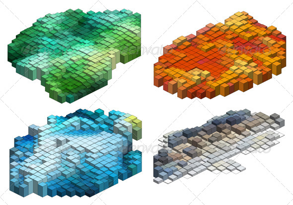 3D Cubes Abstract Background Set
