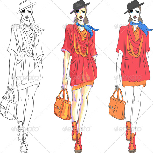 Fashion Girl Top Model in Hat - People Characters