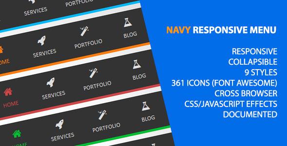 CodeCanyon Navy Responsive Menu 5181355
