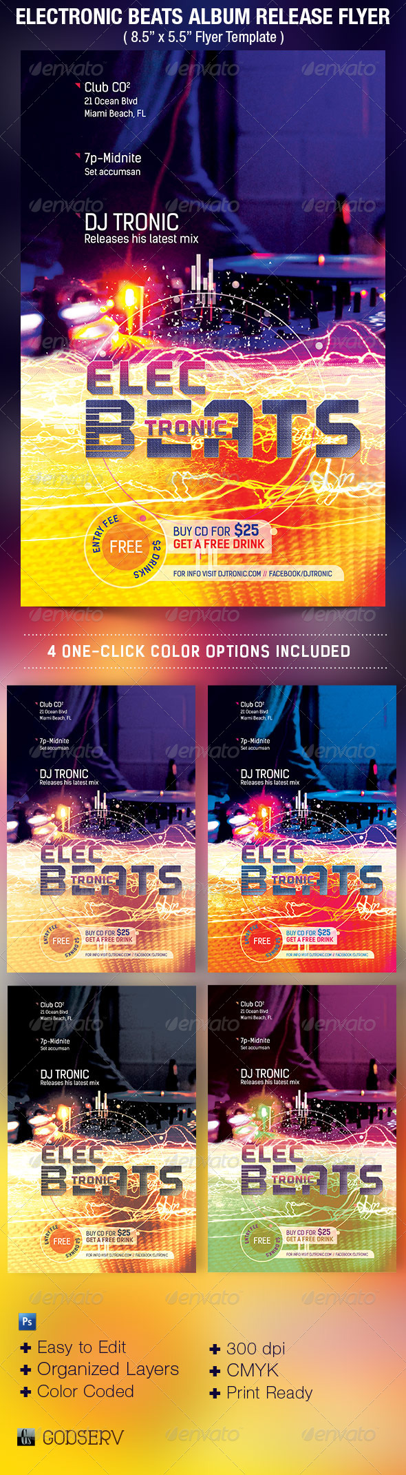 GraphicRiver Electronic Beats Album Release Flyer Template 5182117