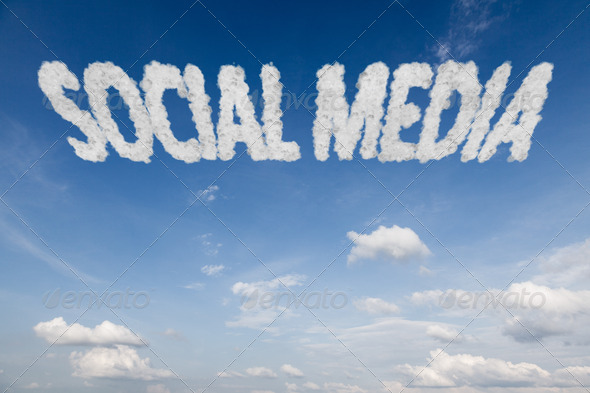 Social media concept text in clouds - Stock Photo - Images