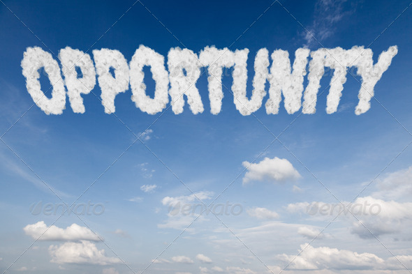 Opportunity concept text in clouds - Stock Photo - Images