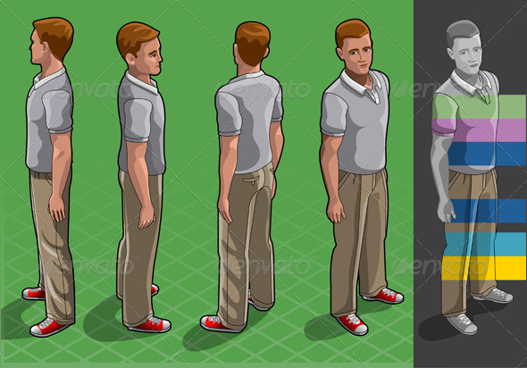 GraphicRiver Isometric Service Man in Four Positions 5182653