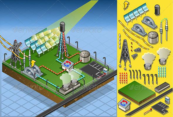 GraphicRiver Isometric Termo Solar Plant Diagram 5182738