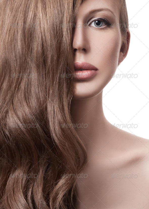 Beautiful Blond Woman. Curly Long Hair - Stock Photo - Images