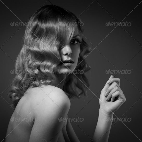Fashion Portrait Of Beautiful Woman. Curly Long Hair. BW Image - Stock Photo - Images
