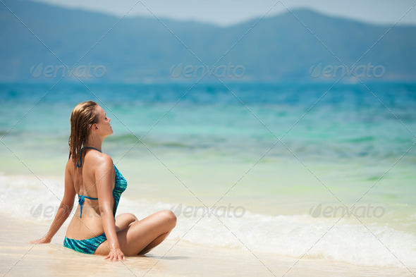 Young Woman Meditation At Tropical Beach - Stock Photo - Images