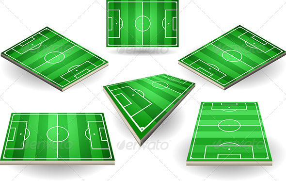 GraphicRiver Set of Soccer Fields in Six Positions 5182921
