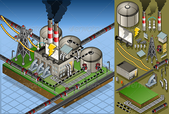 GraphicRiver Isometric Petroleum Plant in Production of Energy 5182924