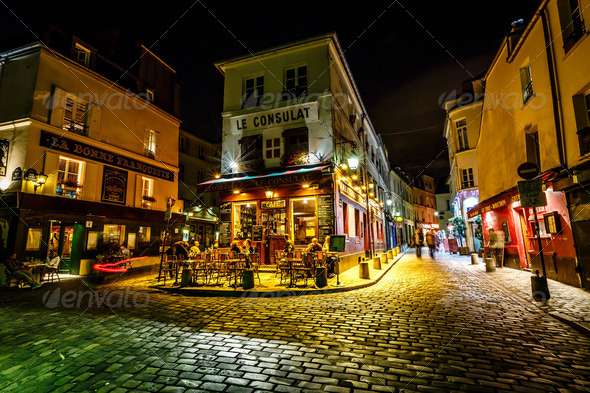 View of Typical Paris Cafe Le Consulat on Montmartre, France - Stock Photo - Images