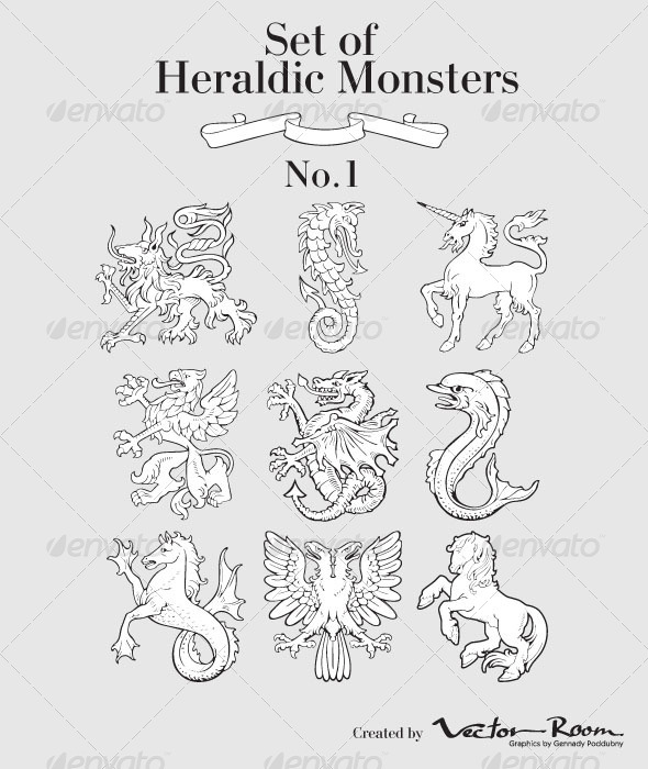 GraphicRiver Set of Heraldic Monsters No1 5184915