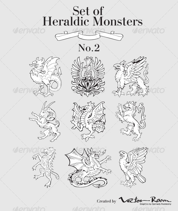 GraphicRiver Set of Heraldic Monsters 5184961