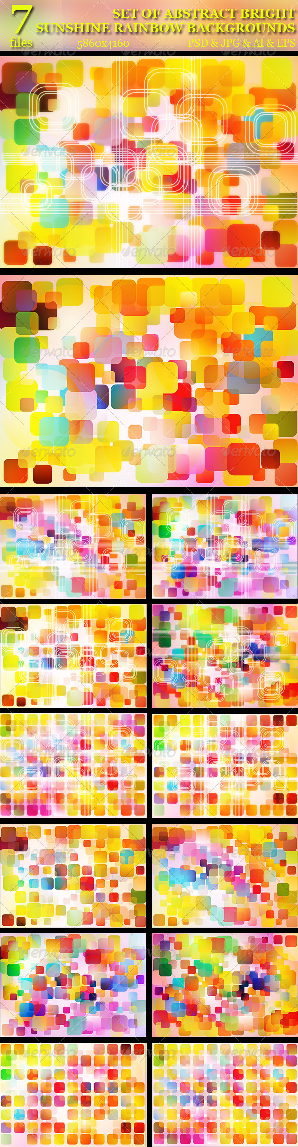 GraphicRiver Set of 7 Abstract Sunshine Rainbow Backgrounds 5185000
