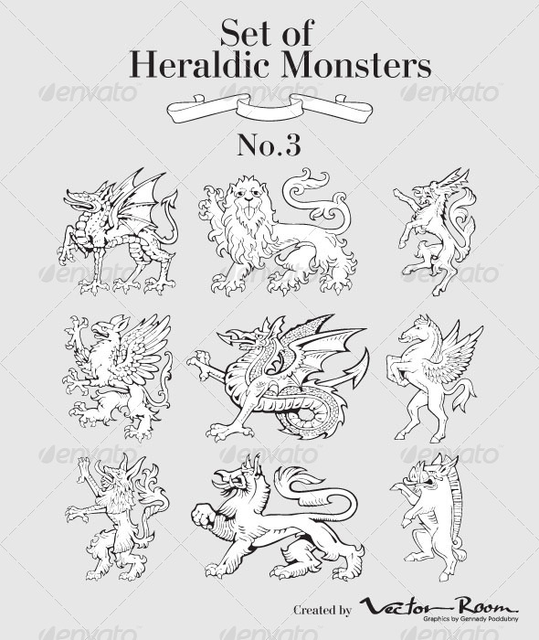 GraphicRiver Set of Heraldic Monsters No3 5185426