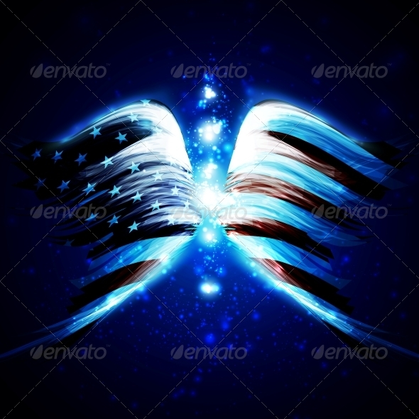Angel Wings with American Flag