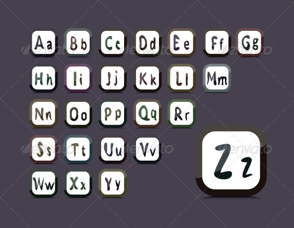 GraphicRiver Editable English Alphabet Collage of 26 Buttons 5186297