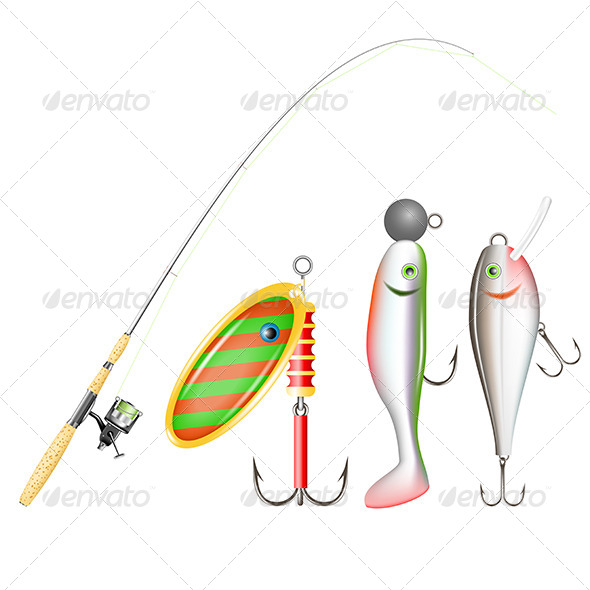 GraphicRiver Fishing Rod Reel and Lures 5186668