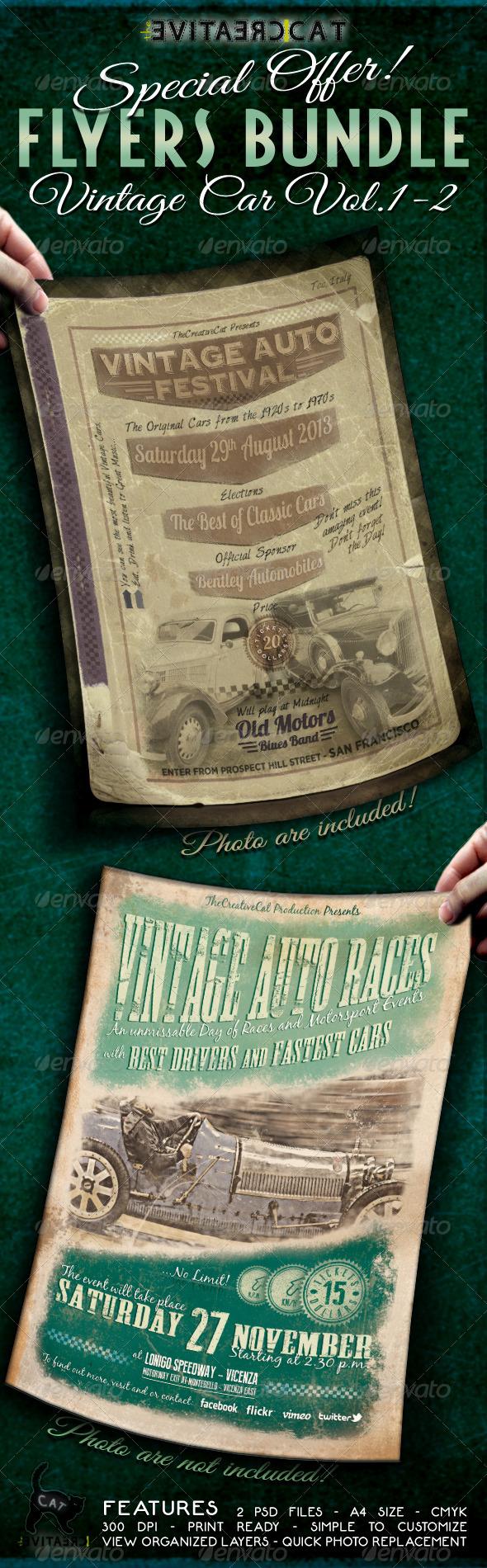Vintage Car Flyer/Poster Bundle Vol. 1-2 - Events Flyers