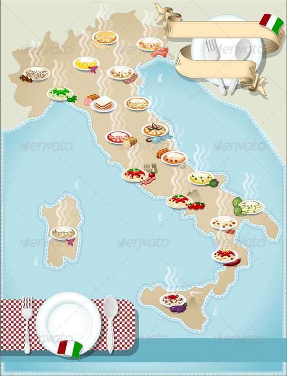 GraphicRiver Map of Regional Pasta in Italy 5187282