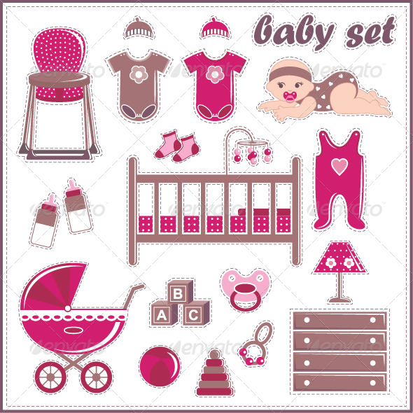 GraphicRiver Scrapbook Elements with Baby Girl Things 5187537