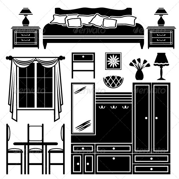 GraphicRiver Set of Images of Furniture in Black and White 5187947