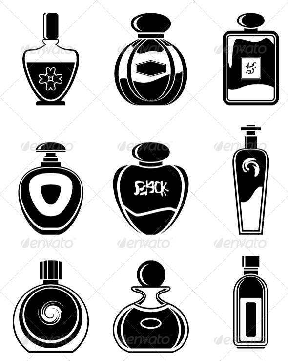 A Set of Different Types of Bottles for Perfume