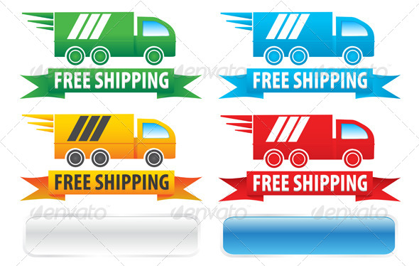 GraphicRiver Free Shipping Trucks Ribbons and Buttons 5189006