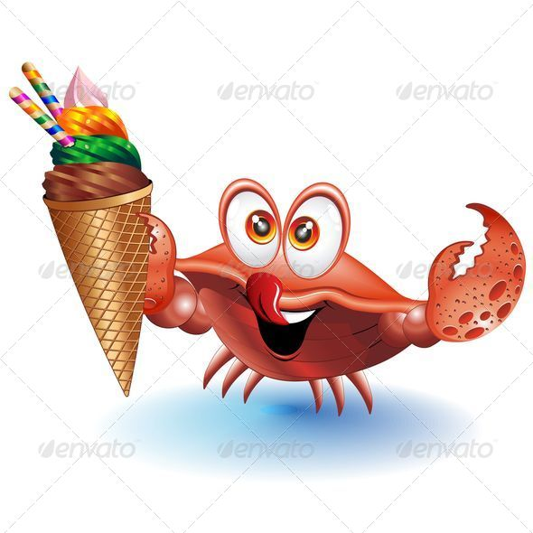 GraphicRiver Crab Cartoon with Ice Cream 5189089