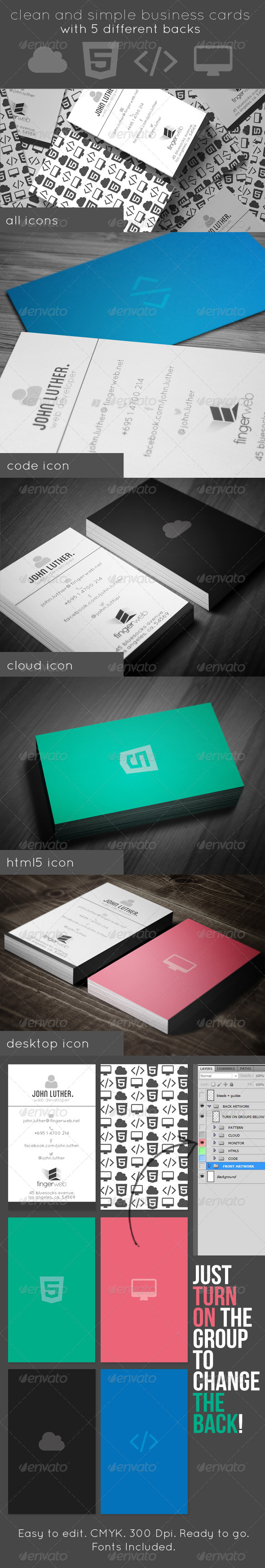 GraphicRiver Icon Business Cards 5 Backs 5189118