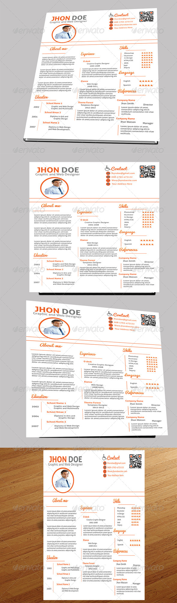 GraphicRiver One Page Resume 5189194