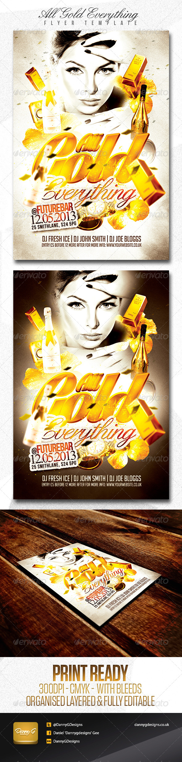 All Gold Everything Flyer Template - Clubs & Parties Events