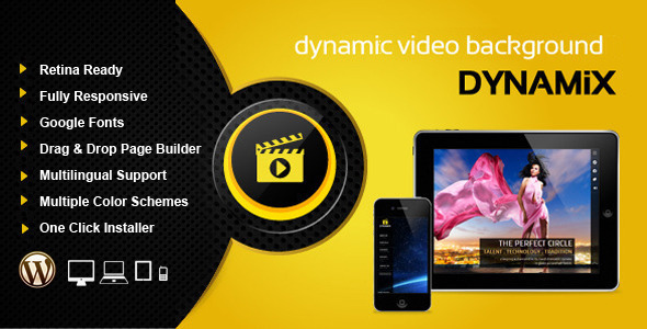 Dynamix Retina Full Screen Background WP Theme - Portfolio Creative