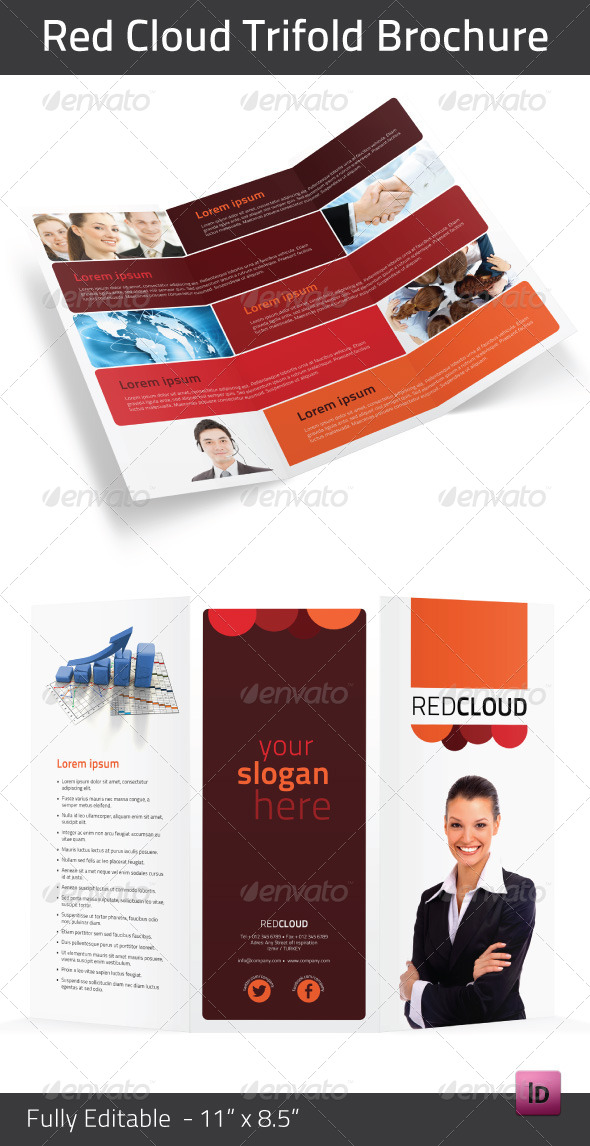 Red Cloud Trifold Brochure - Brochures Print Templates