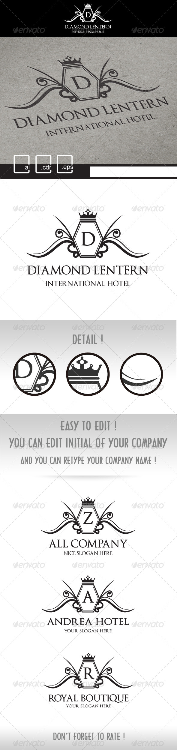 GraphicRiver Diamond Lentern Royal Crest Logo 5191352