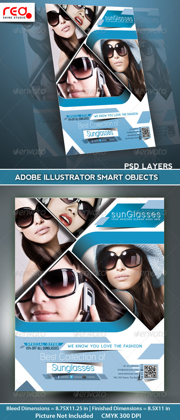 GraphicRiver SunGlasses Fashion Store Flyer Poster Template 5191895