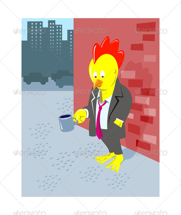 GraphicRiver Rooster Chicken Unemployed Office Worker Begging 5192102