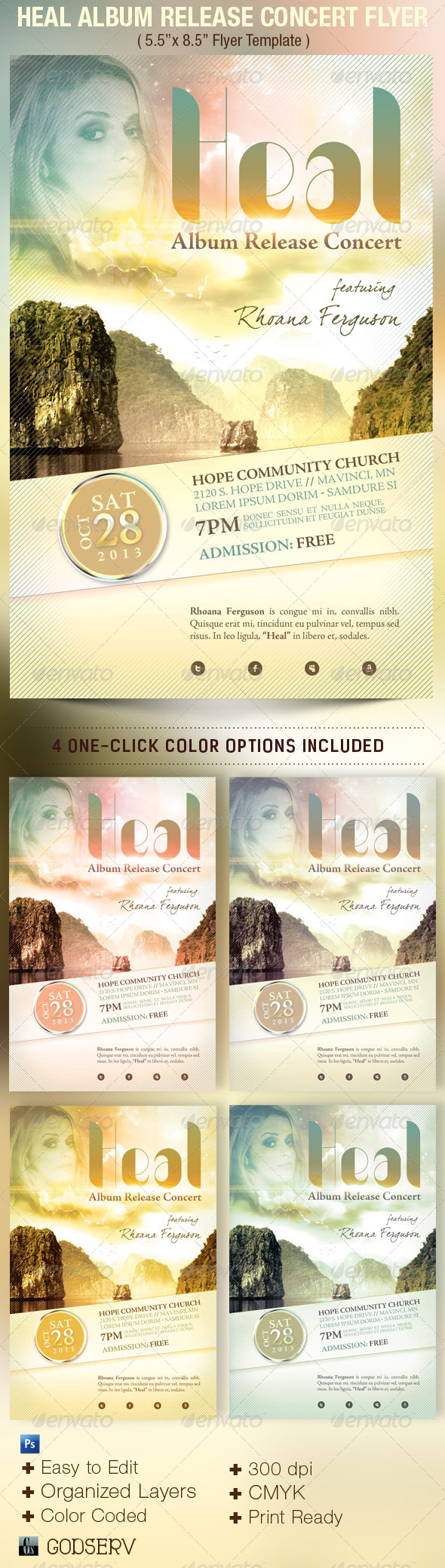 Heal Album Release Concert Flyer Template - Church Flyers