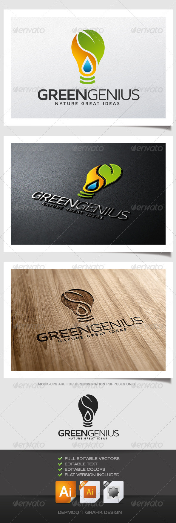 GraphicRiver Green Genius Logo 5185003